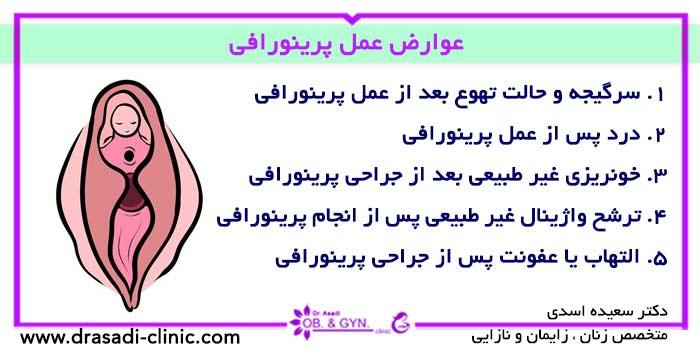 عوارض پرینوپلاستی | دکتر سعیده اسدی٬ متخصص زنان در شرق تهران