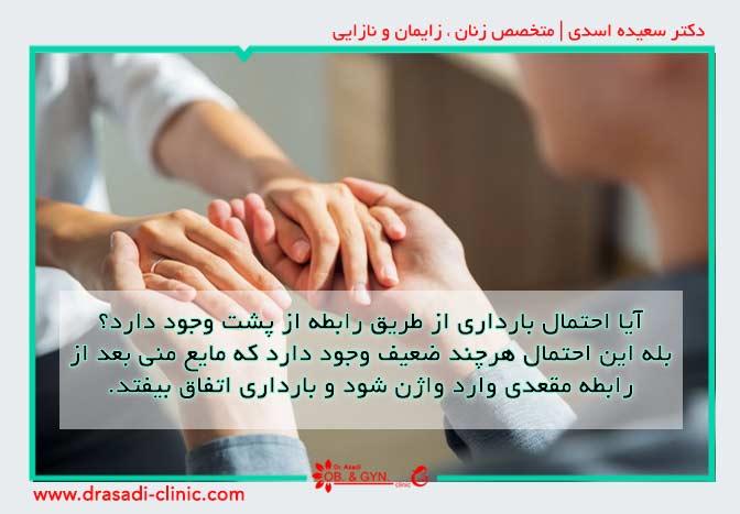 احتمال بارداری از طریق رابطه مقعدی | دکتر سعیده اسدی٬ متخصص زنان در شرق تهران